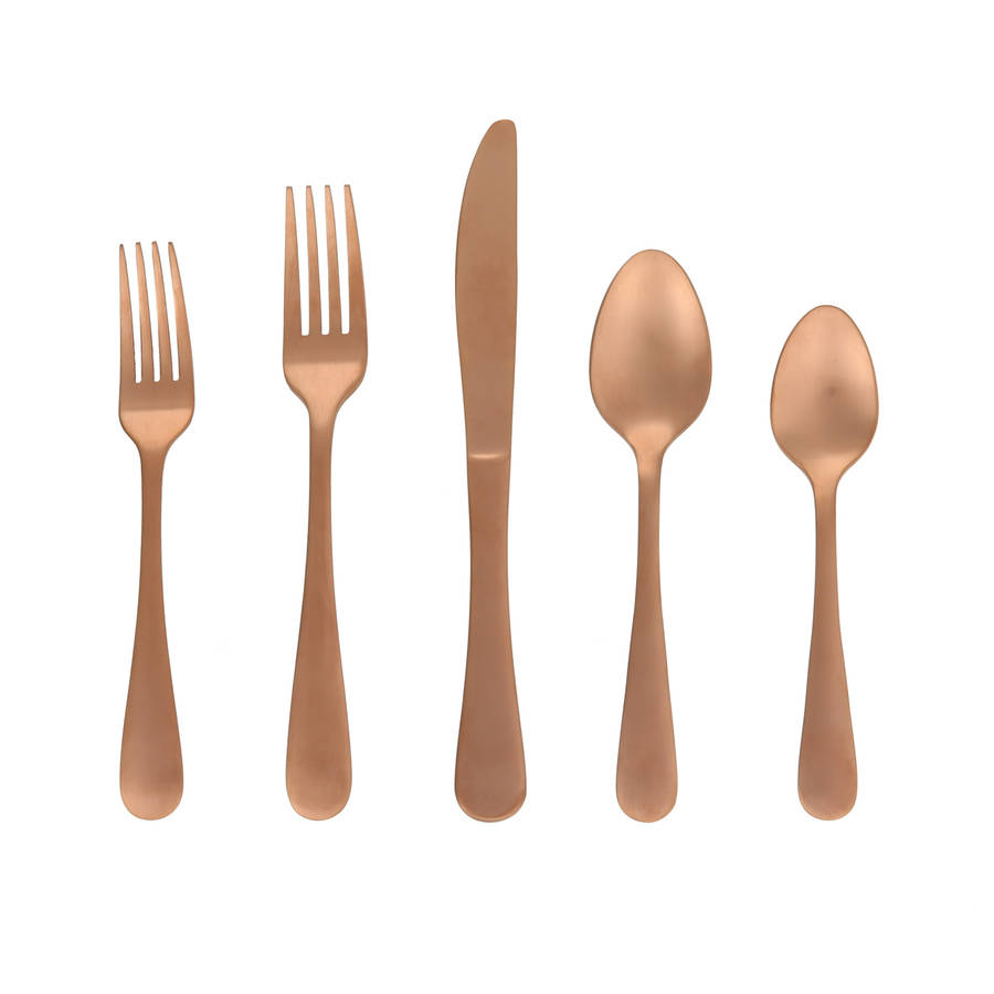 Better Homes & Garden Alder Rose Gold 20-Piece Flatware Set