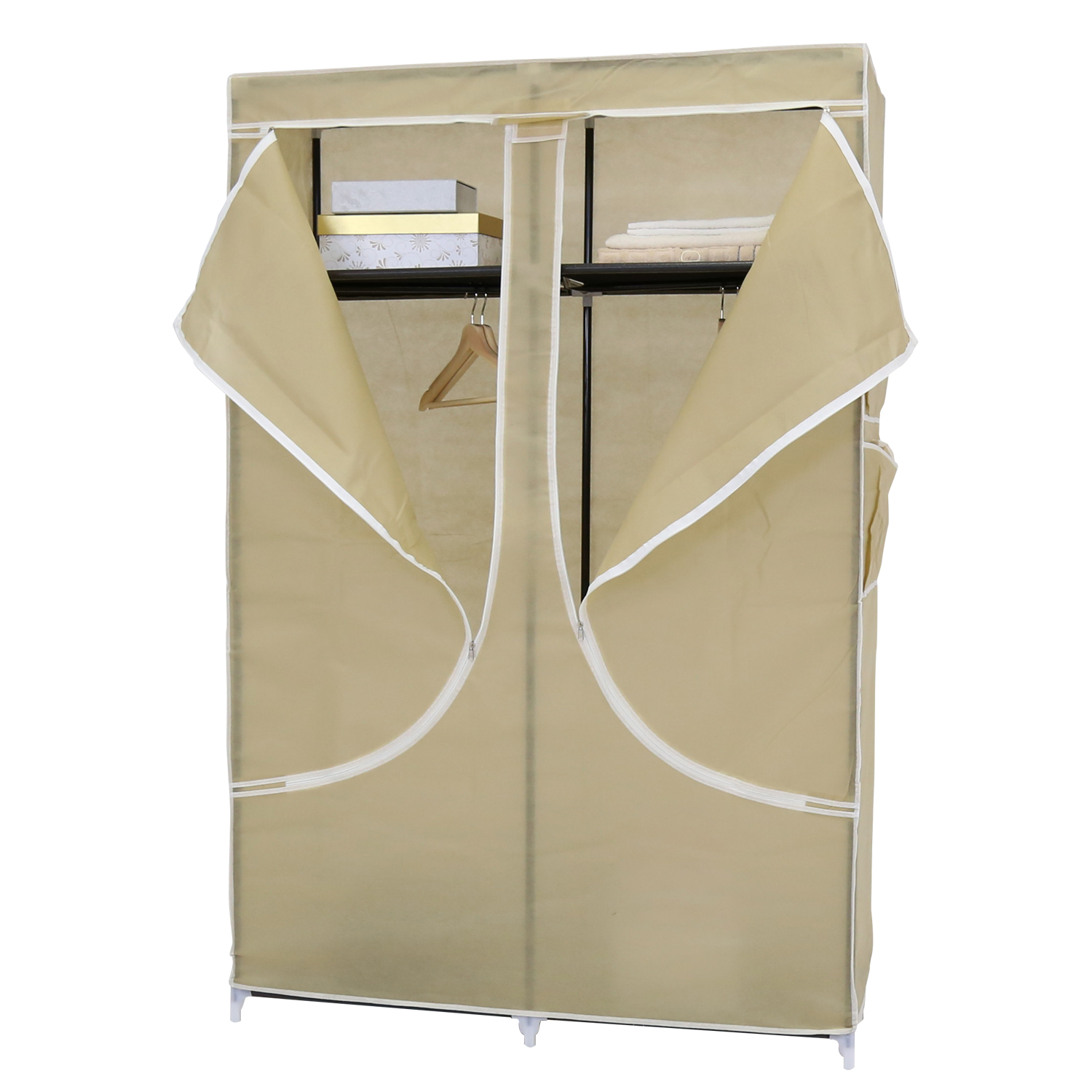 43'' Portable Closet Storage Organizer Wardrobe Clothes Rack with Shelves Beige
