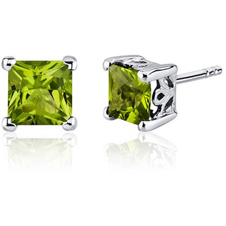 2.50 Carat Princess-Cut Peridot Rhodium over Sterling Silver Stud Earrings