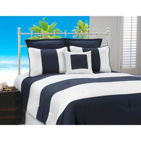 victor mill Cabana Stripe Navy and White Nautical 4-piece Comforter Set (Victor Mall)