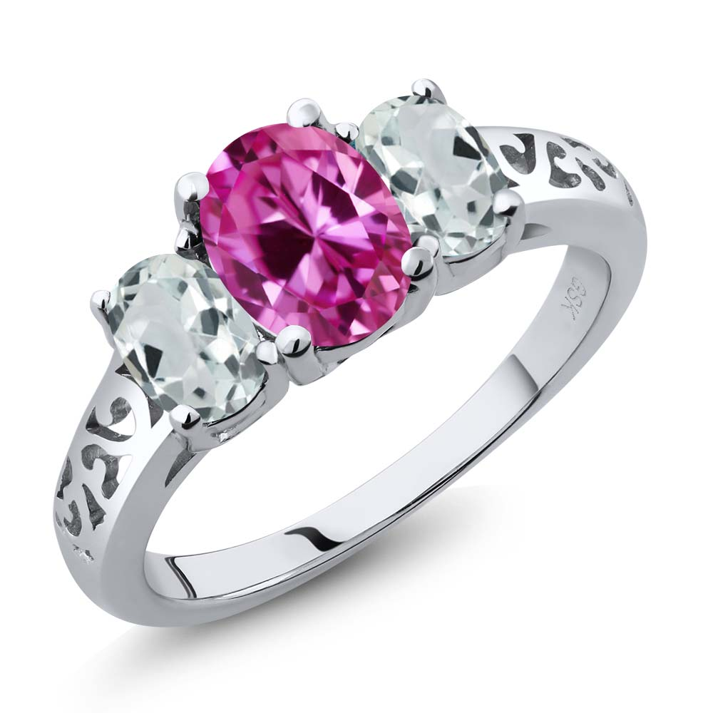 2.51 Ct Oval Pink Created Sapphire Sky Blue Aquamarine 18K White Gold 3-Stone Ring by