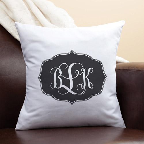 Personalized My Black Monogram Pillow
