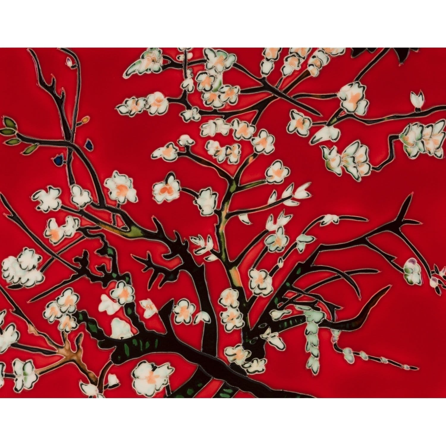 La Pastiche Vincent Van Gogh 'Branches Of An Almond Tree In Blossom, Red' Hand Painted Felt Backed Wall Accent Tile