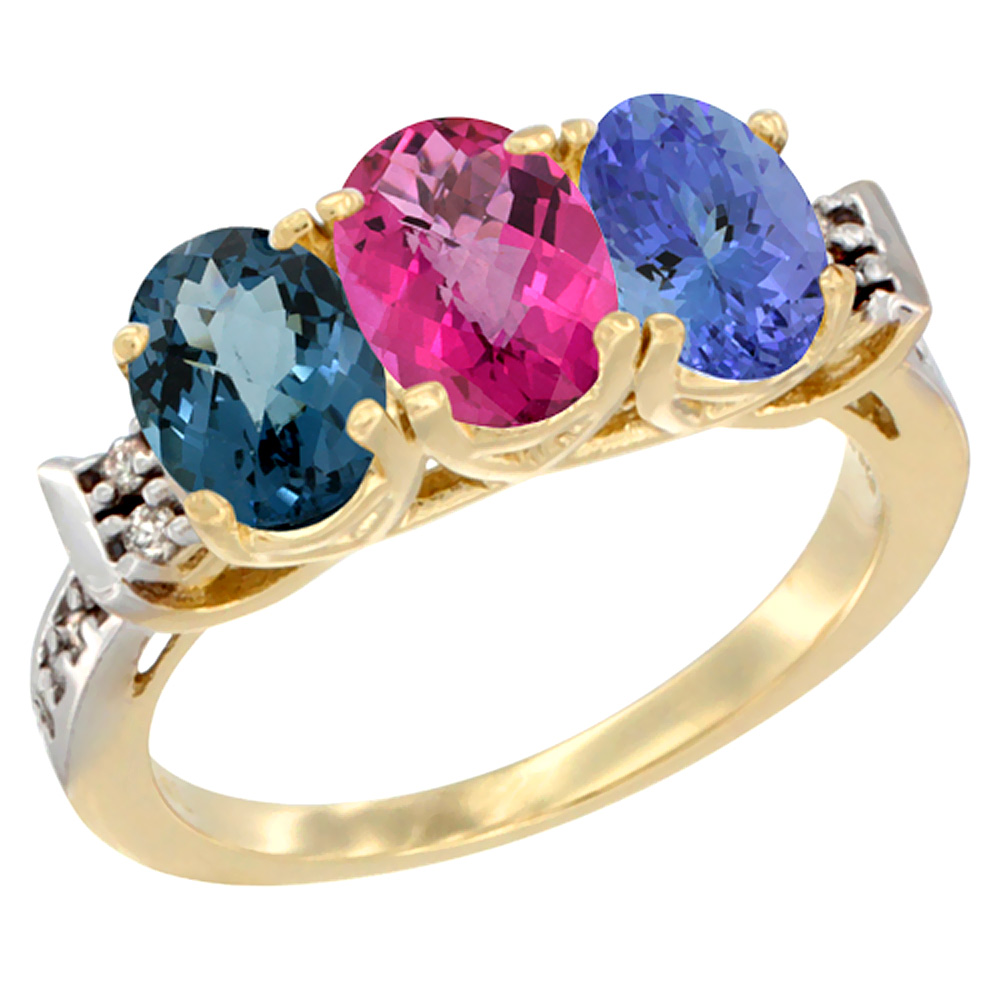 14K Yellow Gold Natural London Blue Topaz, Pink Topaz & Tanzanite Ring 3-Stone 7x5 mm Oval Diamond Accent, sizes 5 10 by WorldJewels