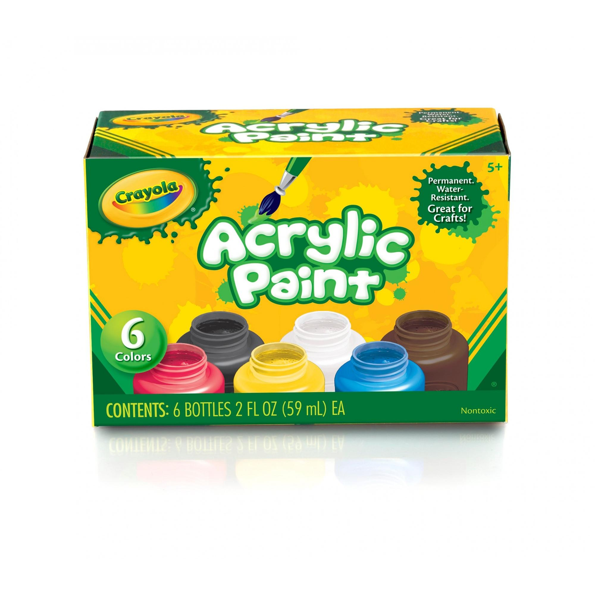 Crayola Water-Resistant Acrylic Paint Set, 2 oz Bottle, Assorted Color, Painting Supplies, Set of 6