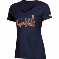 Women's Russell Athletic Navy Illinois Fighting Illini Arch V-Neck T-Shirt