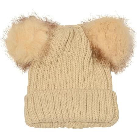 Angela & William Juniors Tan Faux Fur Pom-Pom Embellished Bear Winter Hat Embellished Faux Fur