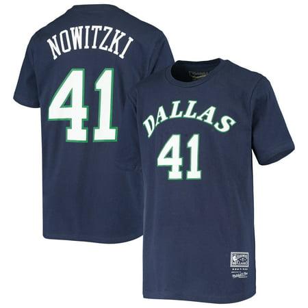 Dirk Nowitzki Dallas Mavericks Youth Hardwood Classics Name & Number T-Shirt - Navy