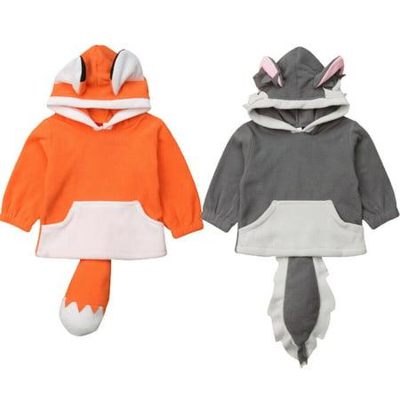 Kids Polar Fleece Animal Cute Cartoon Hoodie With Ears Hooded Hoody Coat Jacket