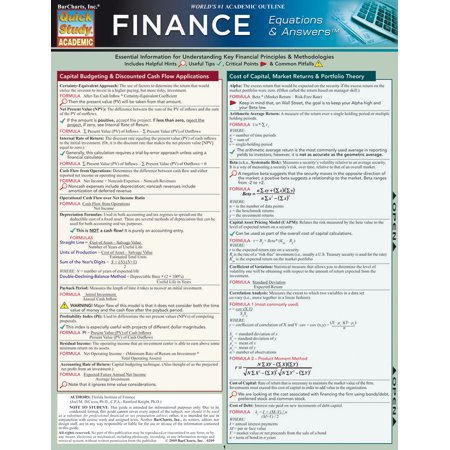 Finance Equations & Answers - Finance Book