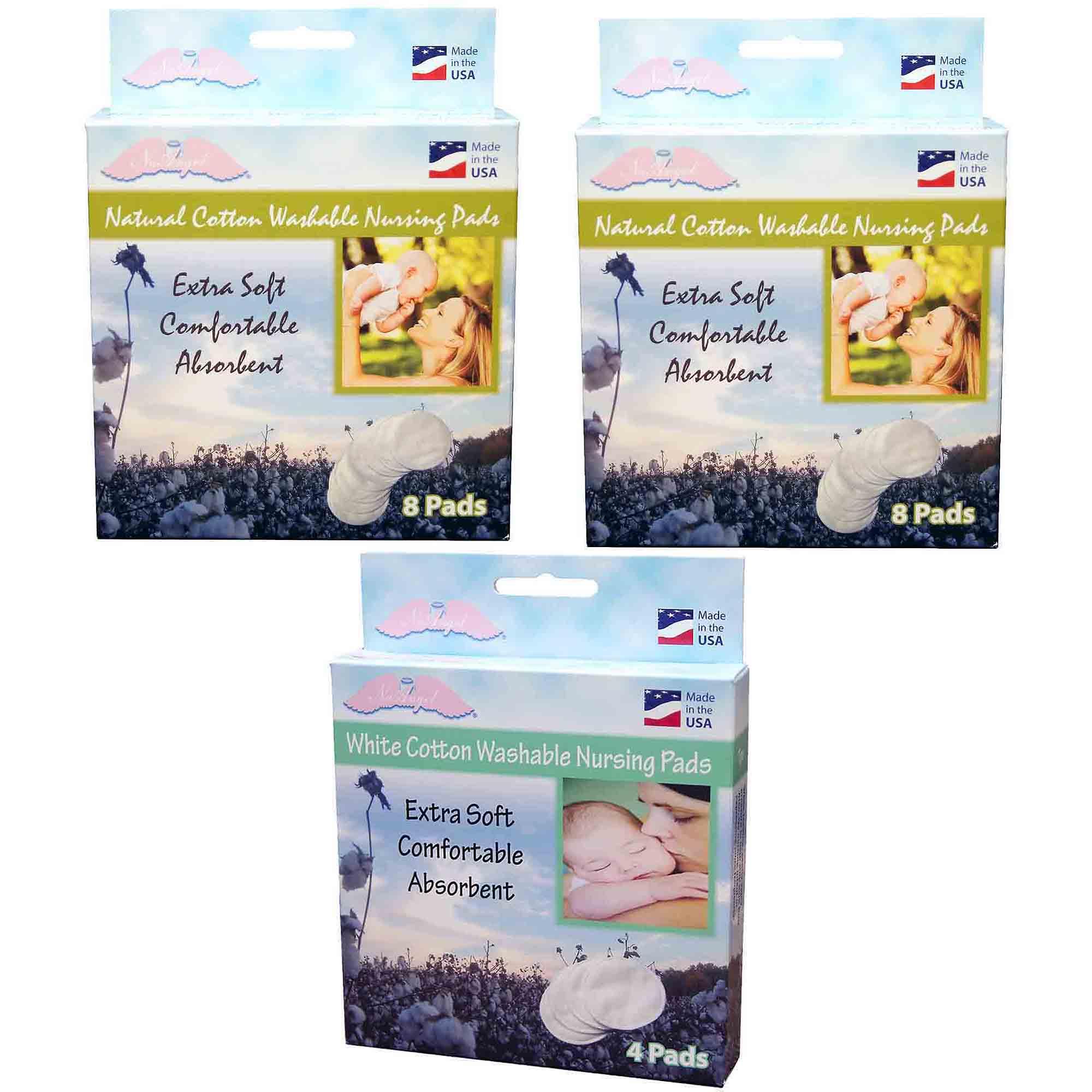 NuAngel All-Natural Cotton Washable Nursing Pad Set, White