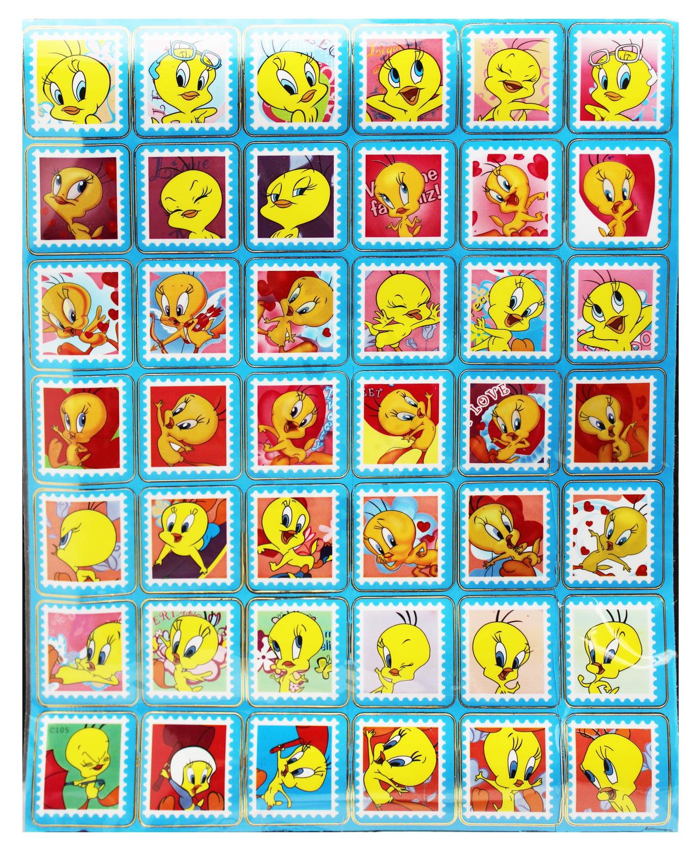Tweety bird assorted postage stamp look alike sticker set 42 stickers