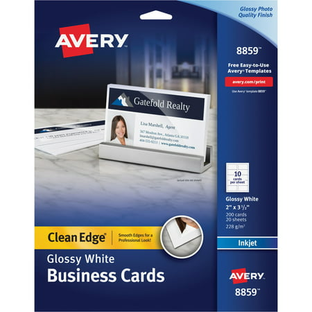 Avery Clean Edge Business Cards Inkjet 2 X 3 12 Glossy White