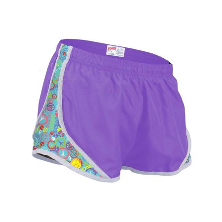 Side Mesh Insert - Girls Shorts with Printed Mesh Side Inserts, Grape & Turquoise Glitter Peace - Large