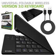 Cellet Universal Foldable Wireless Bluetooth 3.0 Keyboard with Tablet and Smartphone Stand for iOS Android Phone iPads & Windows Laptop