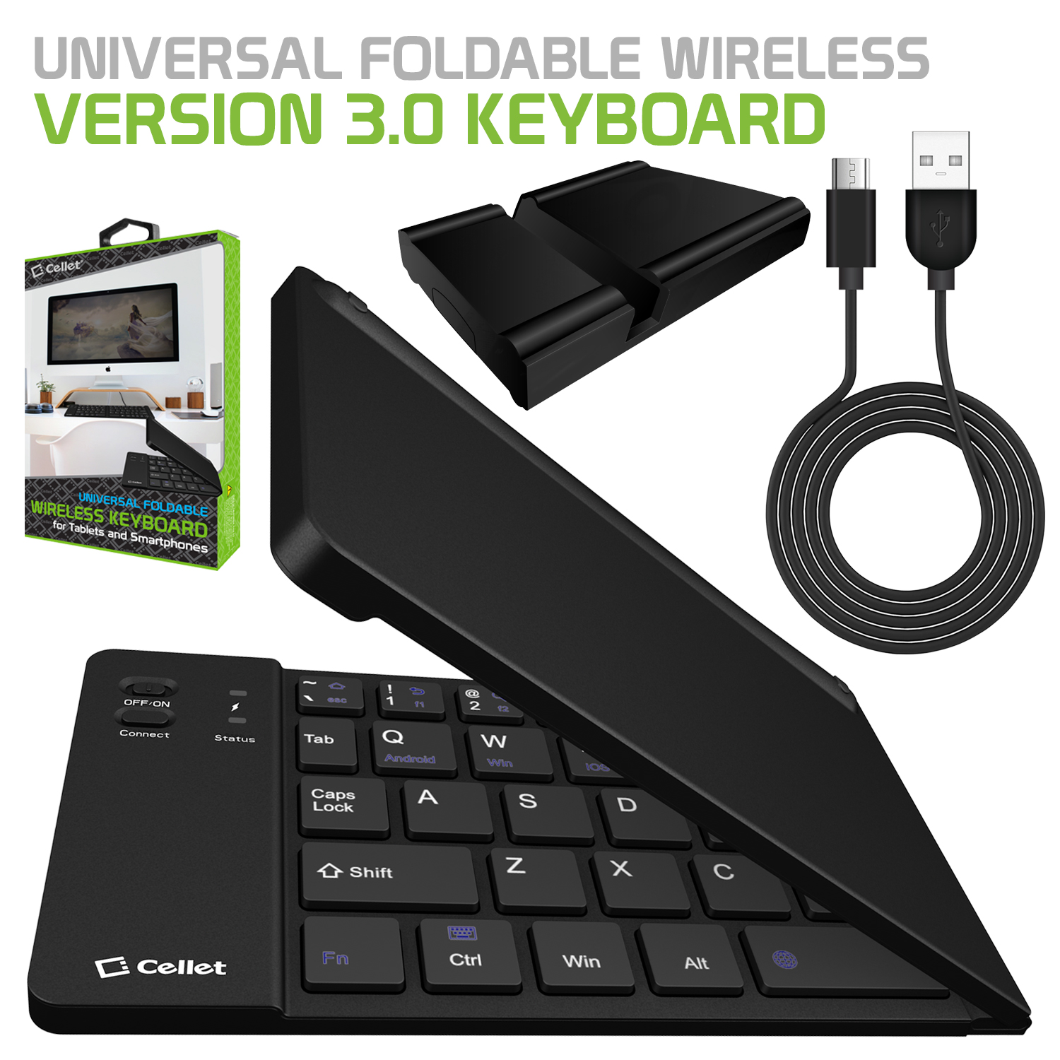 Cellet Universal Foldable Wireless Bluetooth 3.0 Keyboard with Tablet and Smartphone Stand