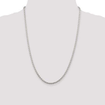 925 Sterling Silver 2.85mm Round Spiga Chain Necklace 24 Inch Pendant Charm Wheat Fine Jewelry Gifts For Women For Her - image 4 de 9