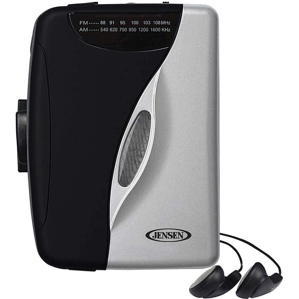 Jensen Portable Compact Lightweight Slim Design Stereo AM/FM Radio Cassette Player