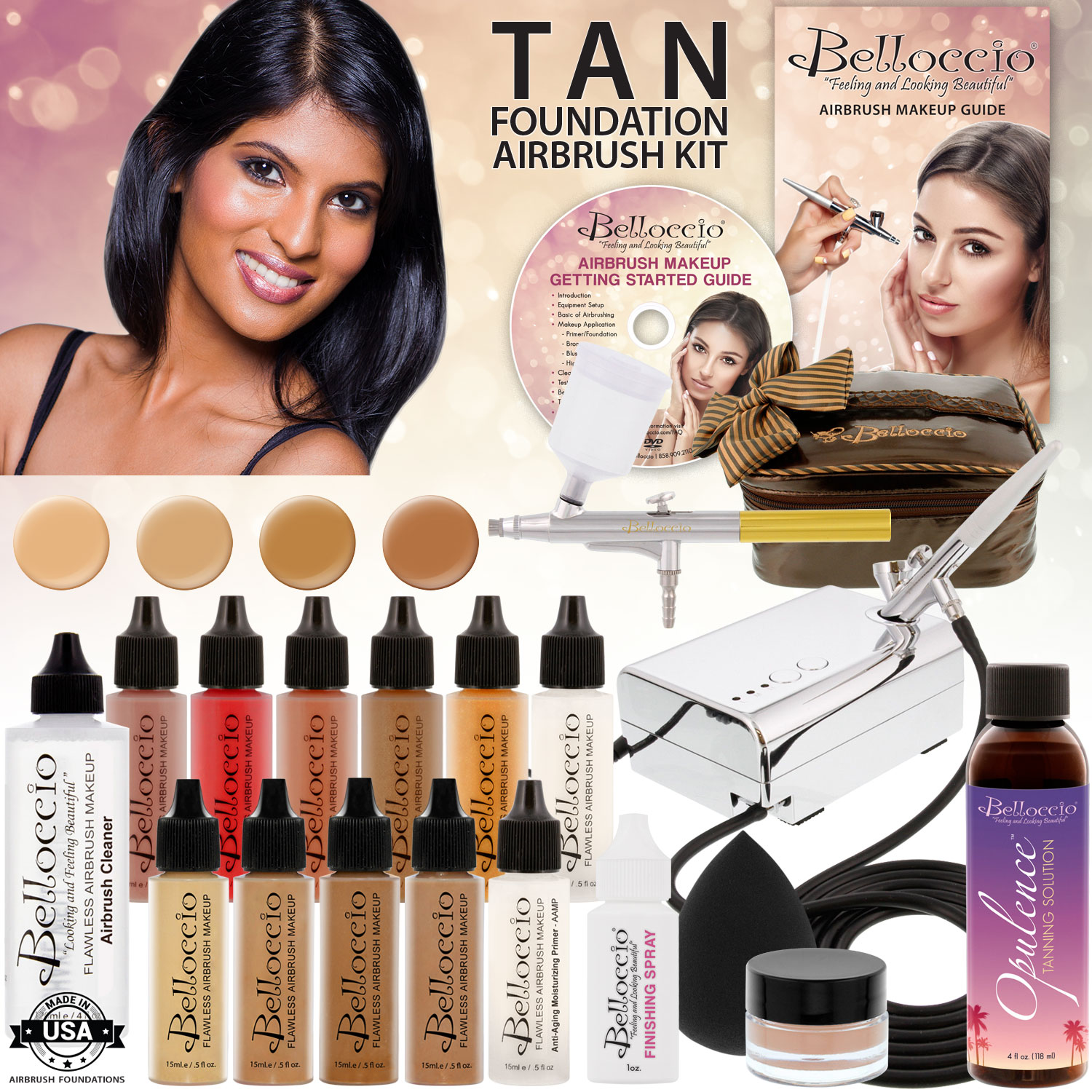 Belloccio Makeup and Tanning Airbrush System with TAN Foundation and Blush Set