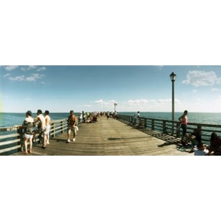Tourists on the beach at Coney Island viewed from the pier Brooklyn New York City New York State USA Canvas Art - Panoramic Images (30 x (The Pier Panama City Beach)