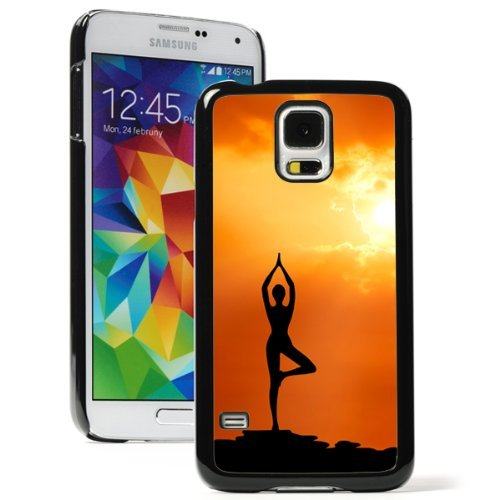 Samsung Galaxy (S5 Mini) Hard Back Case Cover Yoga Pose at Sunset (Black)