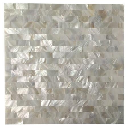 Tile Brick Pattern - 6-Tiles Peel and Stick Mother of Pearl Shell Tile for Kitchen Backsplash White Brick 12