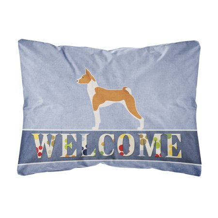 Basenji Welcome Canvas Fabric Decorative Pillow