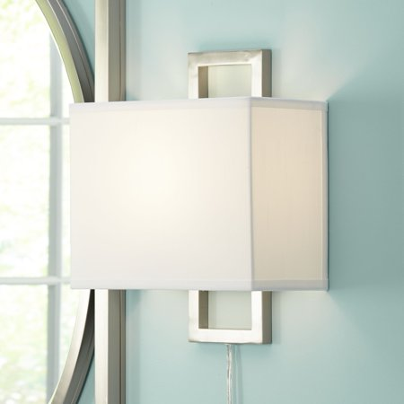 Possini Euro Design Modern Wall Lamp Plug In Rectangular Brushed Nickel White Shade For Living Room Bedroom Reading