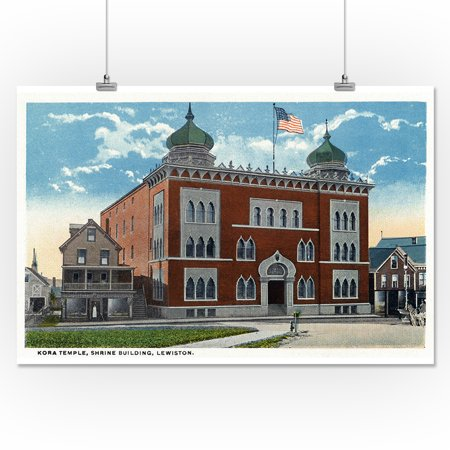 Lewiston, Maine - Exterior View of the Kora Temple, Shrine Building (16x24 Giclee Gallery Print, Wall Decor Travel Poster)
