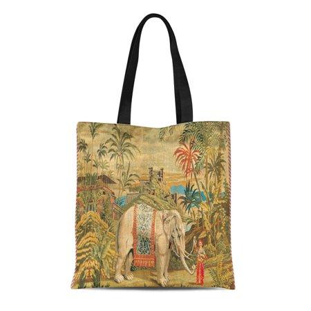 LADDKE Canvas Tote Bag Old Elephant Trainer French Europian Renaissance Prosperity Reusable Handbag Shoulder Grocery Shopping Bags