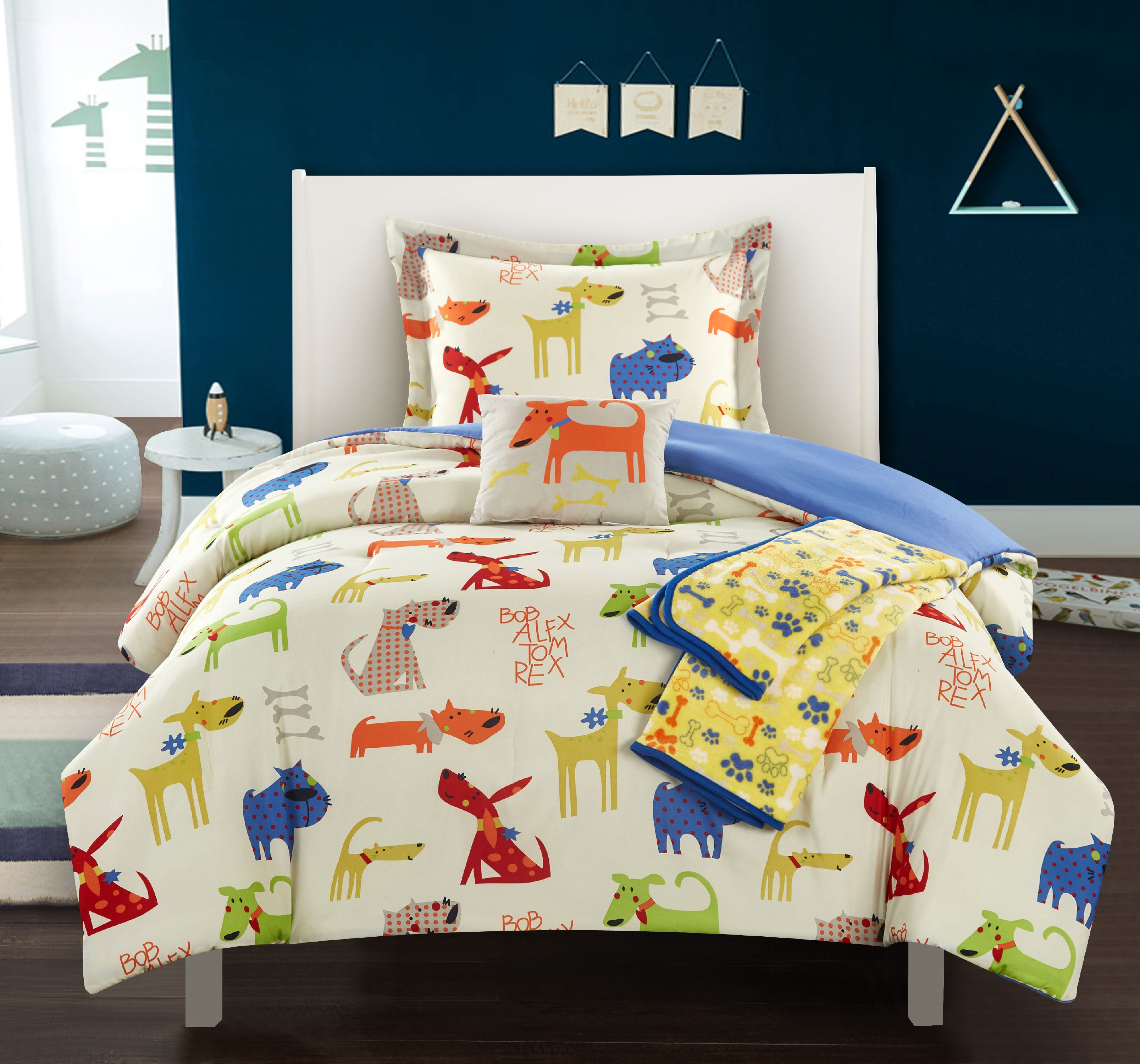 "Chic Home Furbabies 5 Piece ""Man's Best Friend"" Puppy Theme Youth Comforter Set"