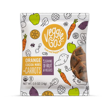 (5 Pack) Veggie-Go's Orange Cocoa Nibs & Carrots Fruit & Veggie Bites -