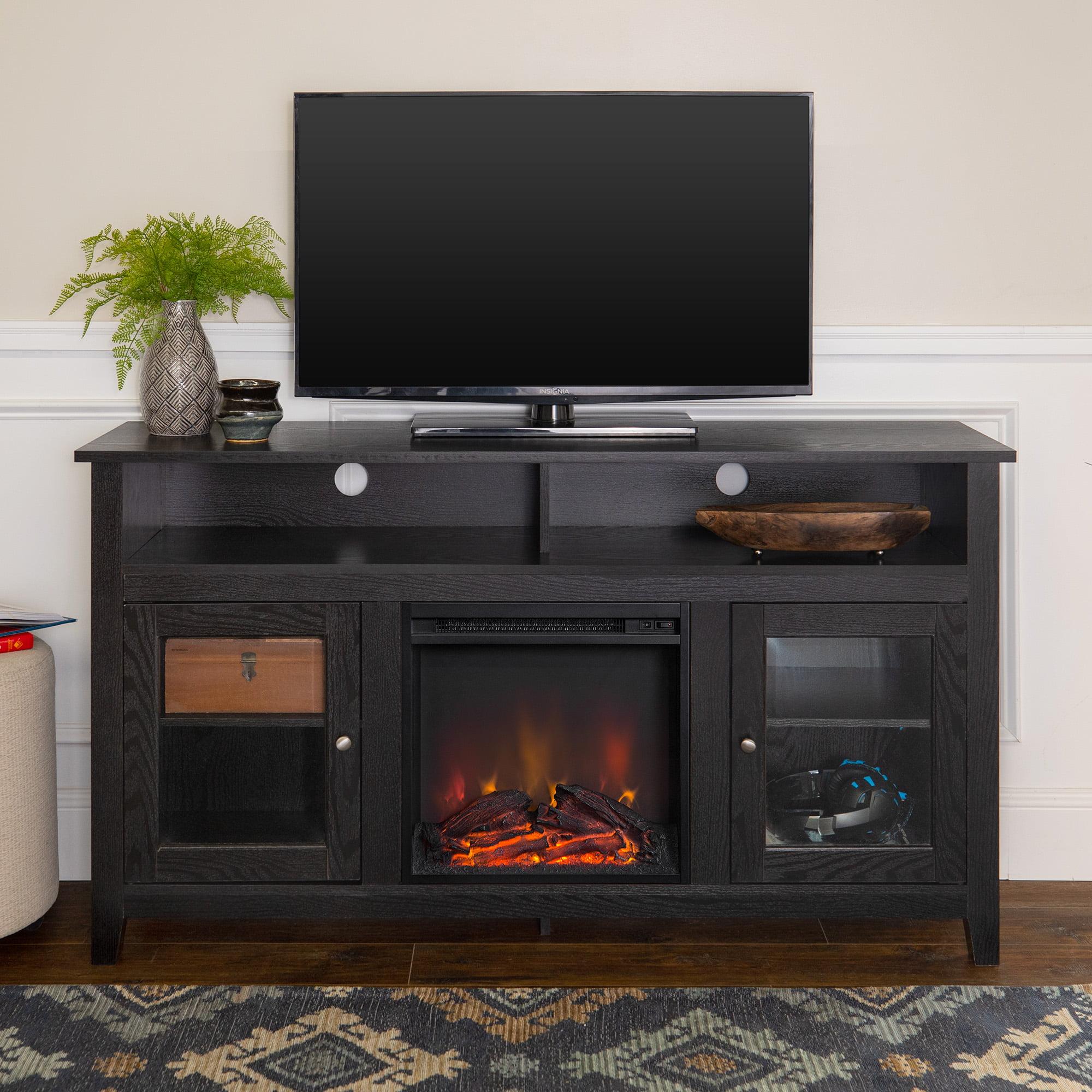 Walker Edison AZ58FP18HBES 58 Wood Highboy Style TV Stand Fireplac Console Espresso