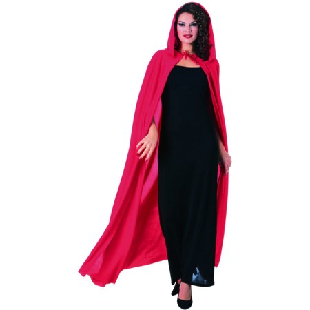 Womens Deluxe Red Full Length Hooded Cape Costume Accessory