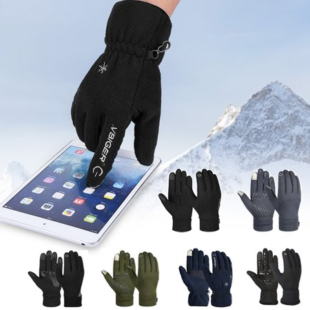 Vbiger Winter Warm Gloves Touch Screen Gloves Driving Gloves Cycling Gloves for Men Women, Black,