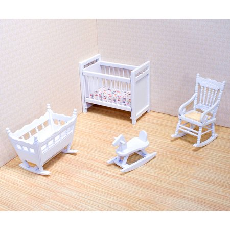 Melissa & Doug Classic Wooden Dollhouse Nursery Furniture, 4pc, Crib, Bassinette, Rocker, Rocking Horse