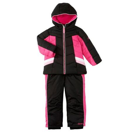 00da96d05 Pacific Trail - Pacific Trail Infant & Toddler Girls Pink & Black Snowsuit  Ski Bibs & Coat Set - Walmart.com
