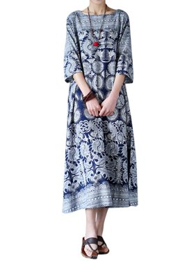 e227c0942461d6 Product Image Womens Half Sleeve Loose Random Floral Side Pockets Maxi Long  Dresses