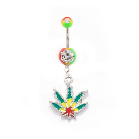 Belly Button Rings Marijuana Pot Leaf Dangle 14G Belly Button Ring 1.6mm Rasta