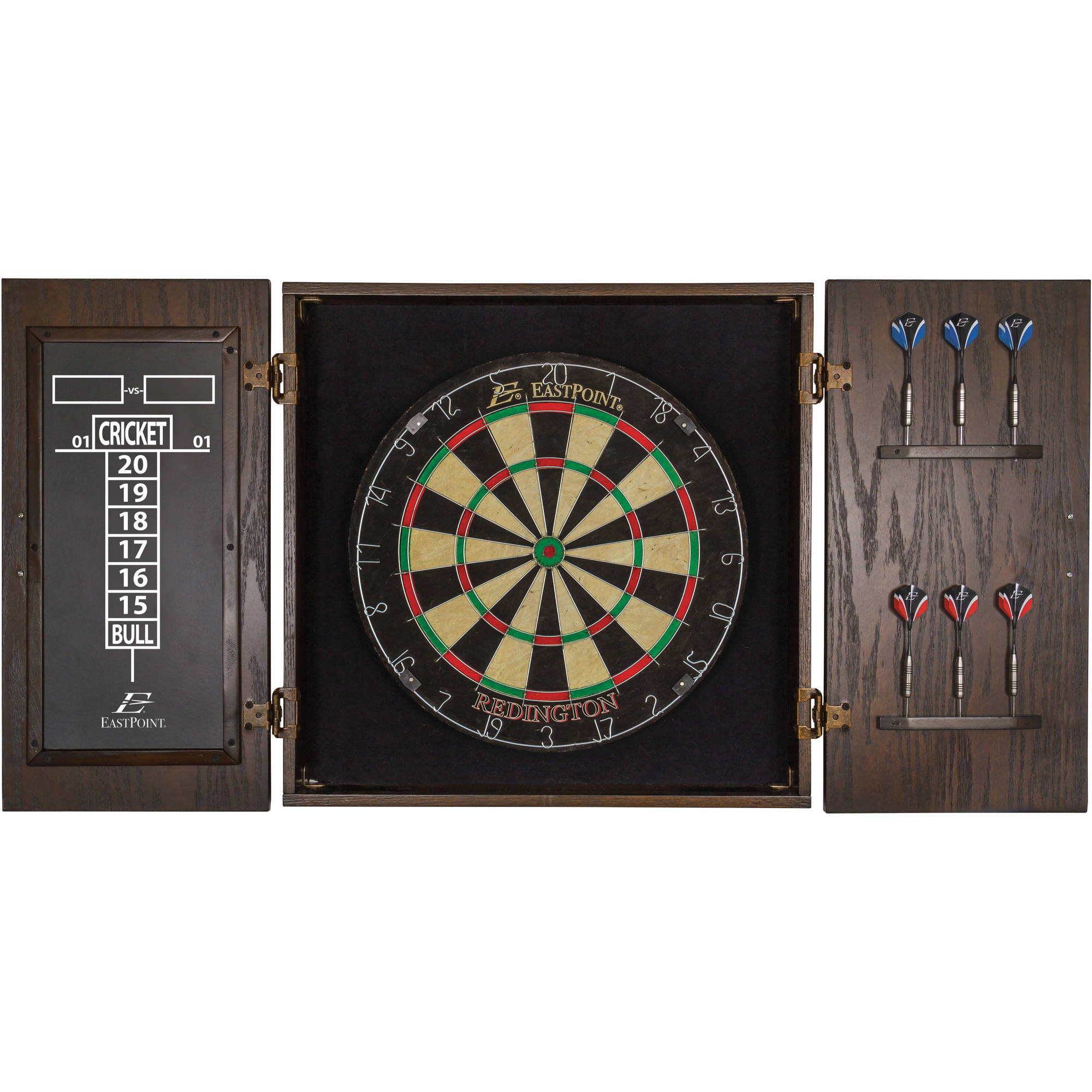 EastPoint Sports 18-inch Redington Bristle Dartboard and Cabinet Set