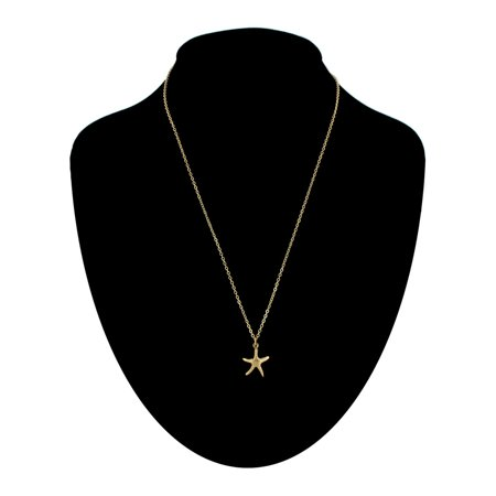 Gold Starfish Charm - Gold Tone Chain Small Starfish Nautical Beach Charm Pendant Necklace