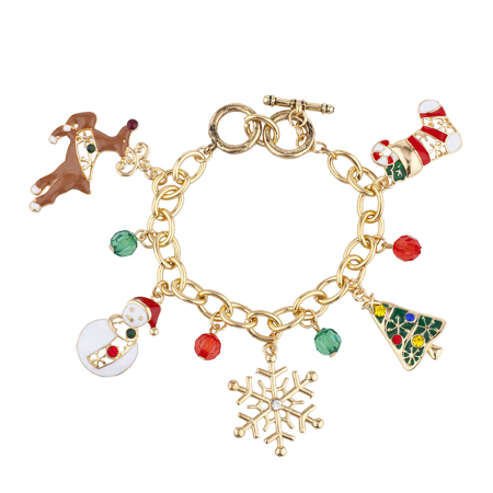 Lux Accessories Gold Tone Christmas Xmas Tree Snowflake Snowman Charm Bracelet (60s Jewelry)