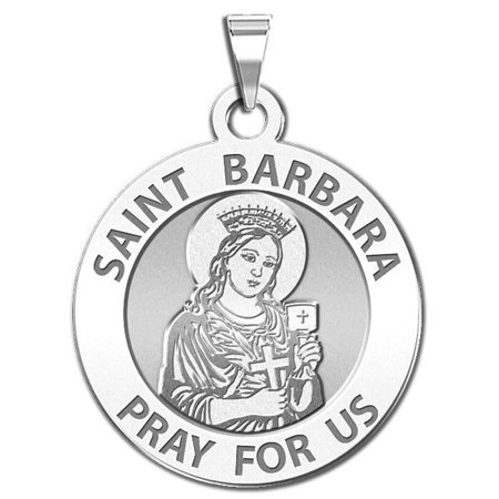 Saint Barbara Religious Medal  - 1 Inch Size of a Quarter - Solid 14K White Gold