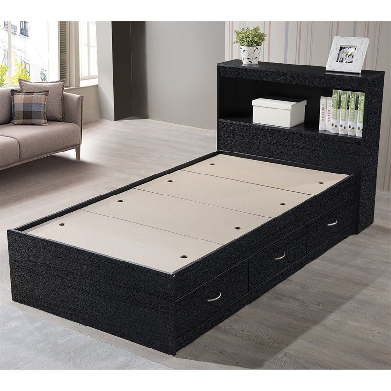Pemberly Row Twin Captain Storage Bed, Metal Bed Frame Queen Size With Vintage Headboard And Footboard Platform Base Wr