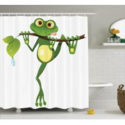 Animal Decor Shower Curtain Set, Little Frog On Branch Of The Tree In Rainforest Nature Jungle Life Artsy Earth, Bathroom Accessories, 69W X 70L Inches, By Ambesonne