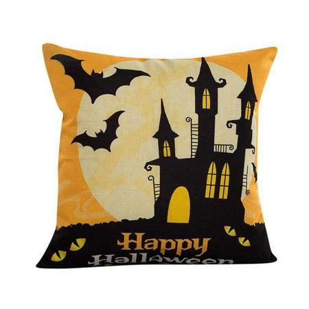 Halloween Decorative Throw Pillow Case Cushion Cover Bat Pumpkin Moon 45x45cm](Halloween Pumpkin Cake Bbc)