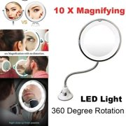 Fashion 10X Magnifying Makeup Mirror Suction Wall Mount 360 Degree Rotation with LED Light