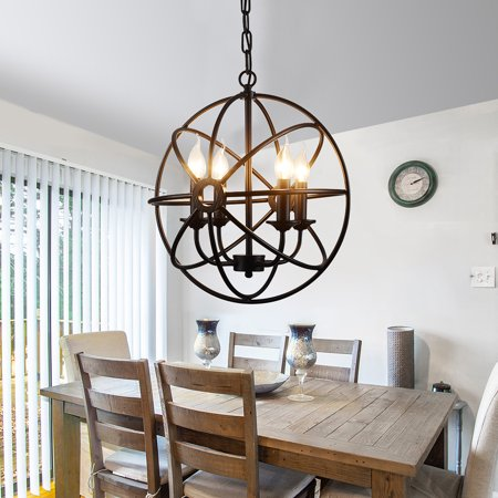 Metal Rustic Pendant Lights Ceiling Chandelier Light 5/6 Lights ndustrial Pendant lamp Ceiling Lamp Hanging Fixture Light for Kitchen Bedroom Living Dining Room Bar (Without Bulbs) Rustic Pendant Chandelier