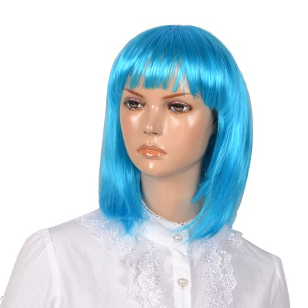Unique Bargains Woman Lady Cyan Fancy Dress Cosply bob Style Short Straigh Hair - 1920s Style Wigs
