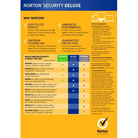 Norton 21363449 Security Deluxe 2016, 5 Devices 1 Year Anti-virus PC/Mac/Android/iOS, New